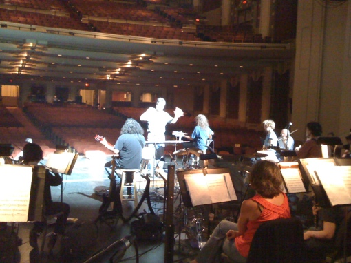 A picture from my view in the trombone section during rehearsal.