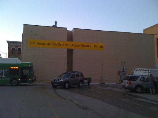 Banner outside Adler Theatre